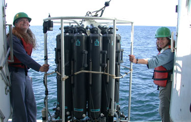 Two researchers on an ocean vessel