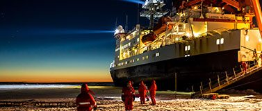 The Polarstern in Antarctica in 2013, on a previous expedition. The ship becomes frozen in sea ice, allowing an interdisciplinary research program on atmosphere, sea ice, ocean, and ecosystem as the sea ice grows and then melts.Alfred-Wegener-Institut/Stefan Hendricks