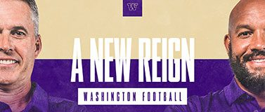 Graphic with UW football coaches Chris Petersen and Jimmy Lake on a purple background with the words A new reign between them.