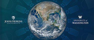 Globe graphic with Johns Hopkins University and University of Washington logos