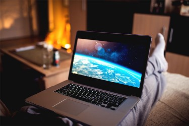 Image of movie streaming on laptop