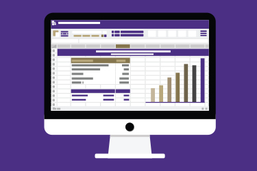 Image of Computer with purple and gold graphics