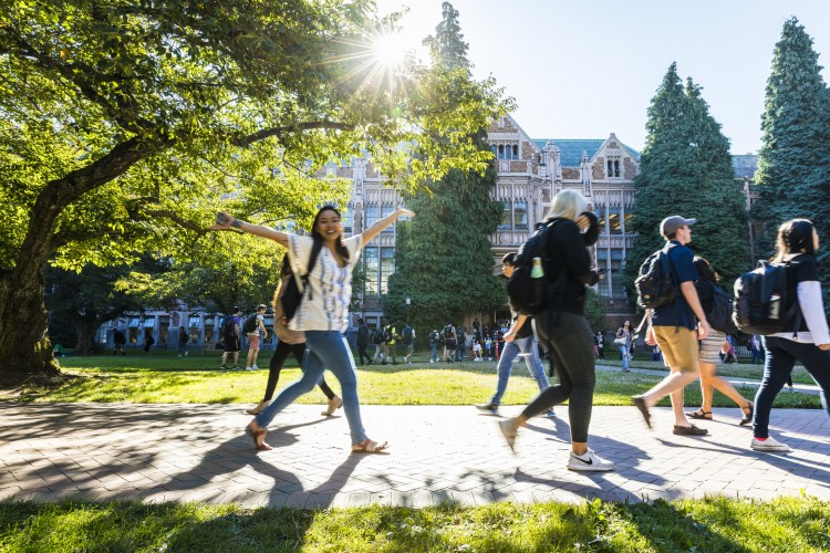 Students walk across the Quad