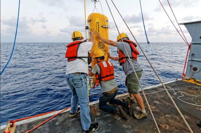 Engineers attach a pod that will zoom up and down along the yellow cable in water at the base of the Axial undersea volcano.