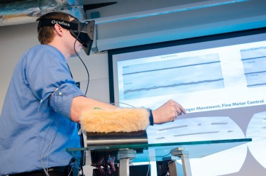 Using an Oculus Rift virtual reality headset and a Leap Motion device — which detects and measures hand movements — the team developed a series of games emulating therapy tasks.