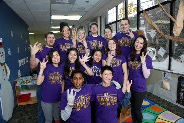 SPEP students show their Husky pride as volunteers in United Way of King County's Martin Luther King Jr. Day of Service event. Every year, SPEP leaders and volunteers donate hundreds of hours of service throughout the community.