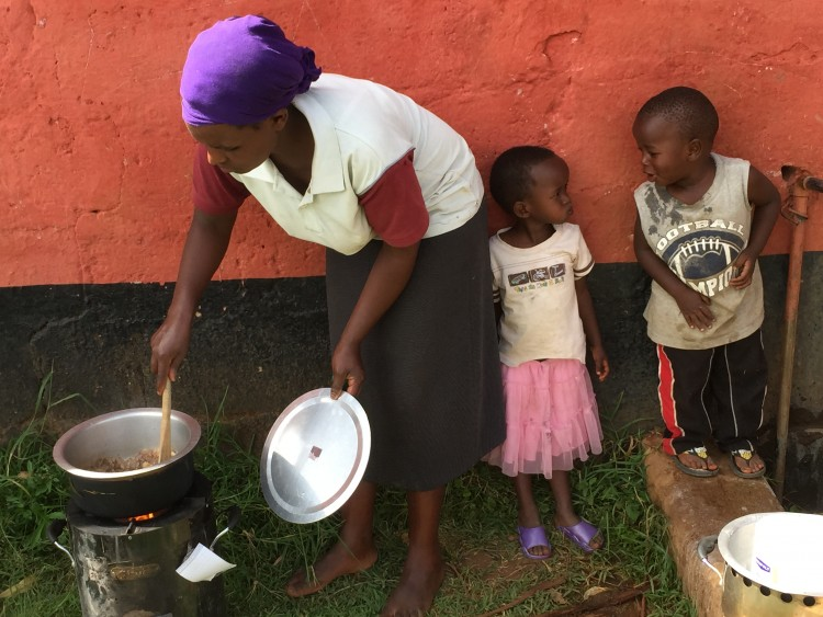 A woman prepares a meal using a clean cookstove.