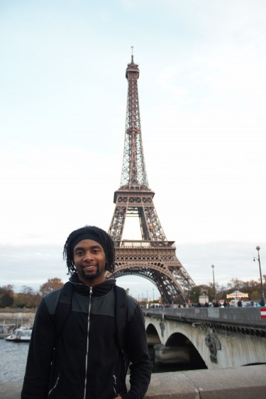 UW student Kainen Bell visits the Eiffel Tower in Paris, France.