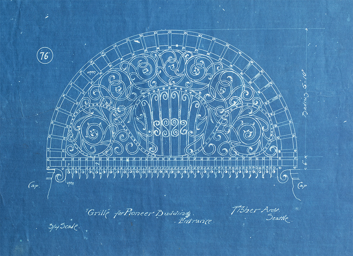 An original blueprint for part of the Pioneer Building, which was built in 1889. The building was the tallest in Washington state from 1892 to 1904.