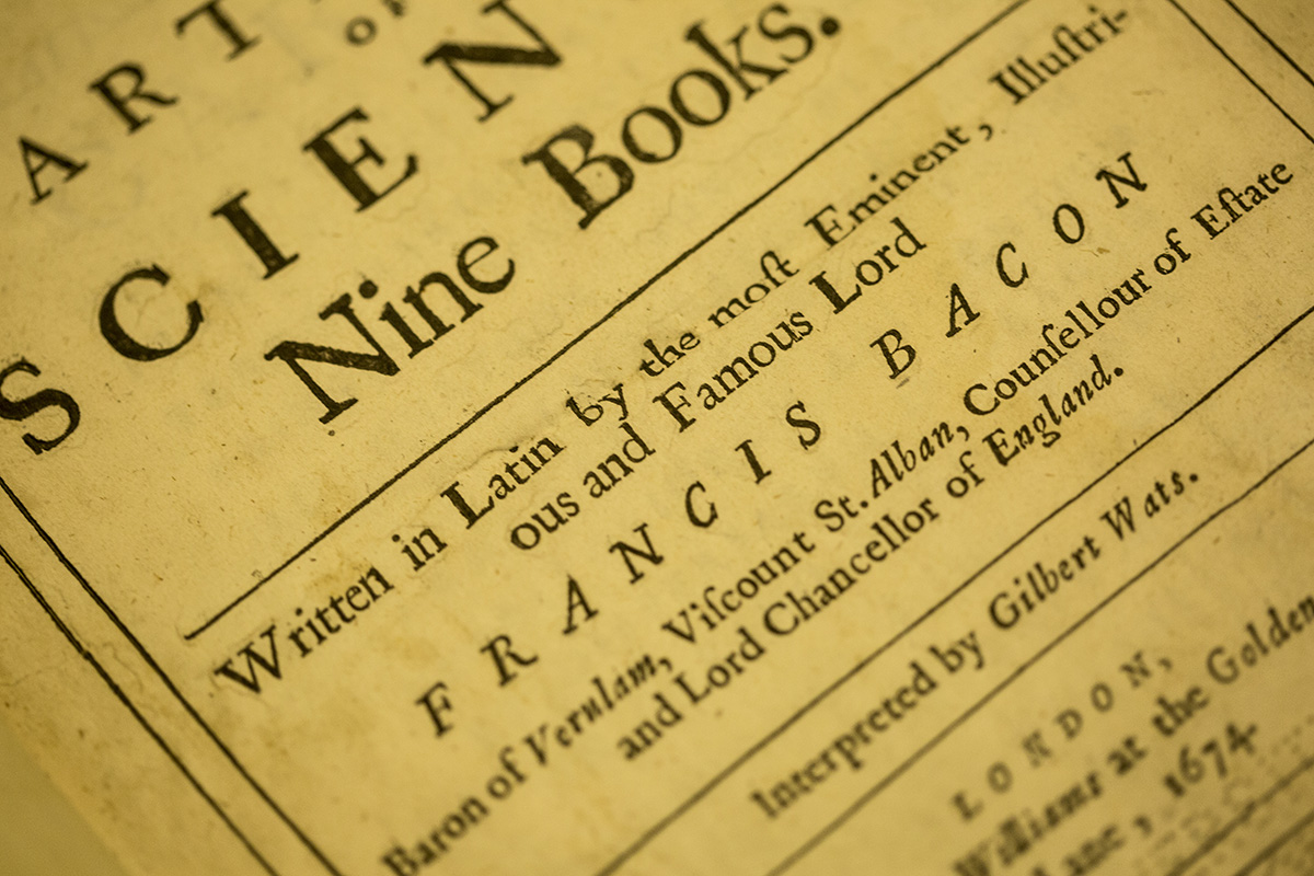 "The inside cover of a 1794 printing of Sir Francis Bacon's "" On the Proficiency of Learning,"" part of Special Collection's rare book collection."
