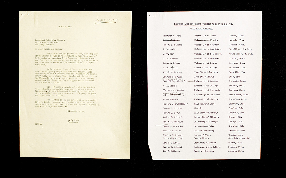 (Left) UW President Lee Paul Sieg's letter to fellow university presidents across the country, his effort to get the UW's Nisei students out of Washington state after Executive Order 9066, and (right) the list of presidents and universities he wrote to.