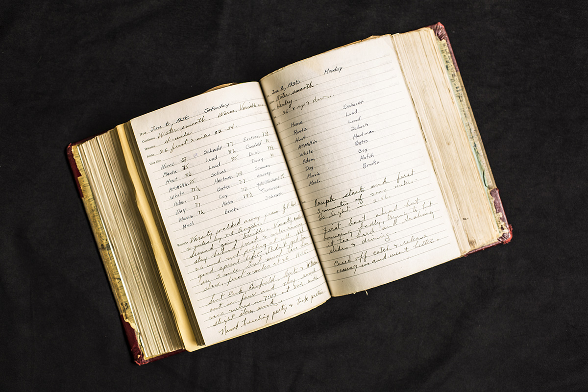 "A page from legendary UW rowing coach Al Ulbrickson's practice logbook. Ulbrickson was the coach from ""The Boys in the Boat,"" who led the UW varsity team to Olympic gold at the 1936 summer games in Berlin. The page on the right is his final selection for the Olympic team."