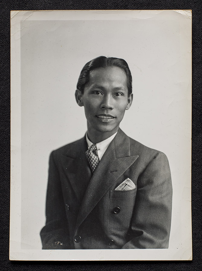 A rare photograph of Carlos Bulosan (1913-1956); most existing photos of Bulosan depict him with a stoic expression, rather than the warm smile featured here.