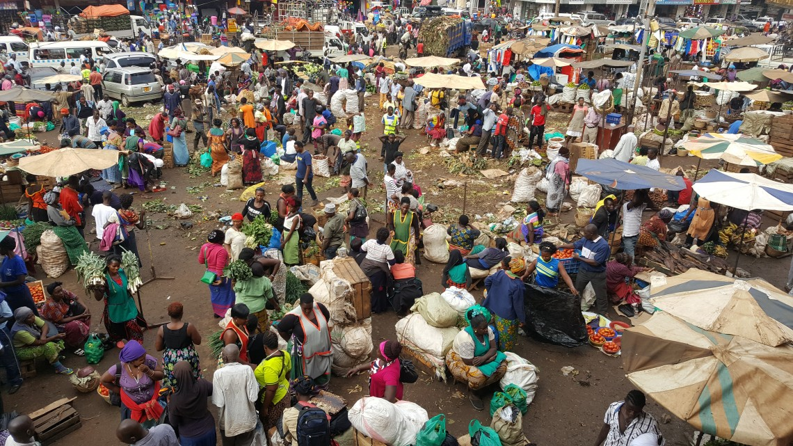 At a bustling market in Kampala, Uganda.