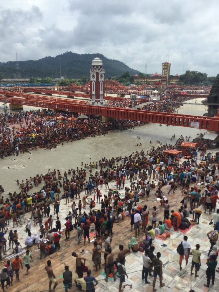 The ancient city of Haridwar, India, on the Ganges River. Bell visited during the Maha Shivaratri festival.
