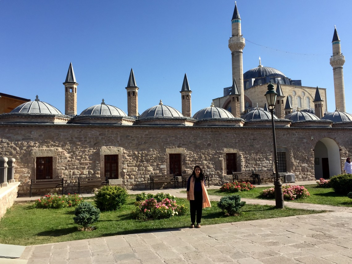 "In Konya, Turkey, Amin visited the tomb of 13th-century mystic and poet Rumi. ""I was in dhikr,"" she says, ""the same joy for love that caused Rumi to toss his head back and twirl in the middle of a bazaar for the first time."""