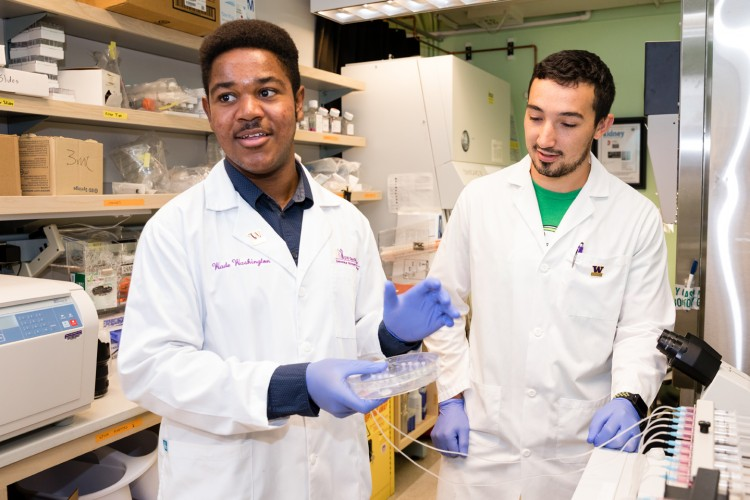 Wade Washington (left) and Elijah Weber, a School of Pharmacy graduate student, in the Kelly lab.
