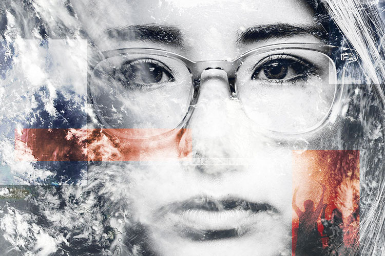 woman with eyeglasses superimposed with images of the Earth and a photo of a riot
