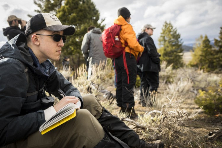 Loma Pendergraft, a Ph.D. student who studies corvids, takes notes during a day in the field.