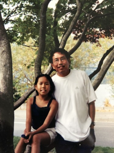 Sukrachan with her father, Chanchai