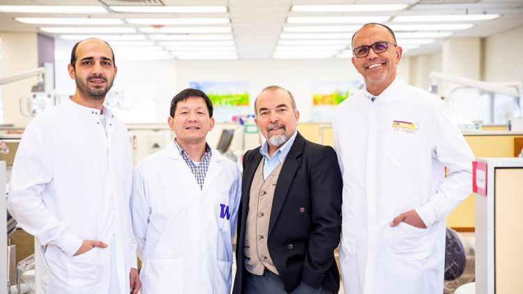 From left: Deniz Yucesoy, postdoctoral research fellow; Hanson Fong, research associate; Dr. Mehmet Sarikaya, professor of materials science and engineering, chemical engineering and oral health sciences; Sami Dogan, associate professor of restorative dentistry.