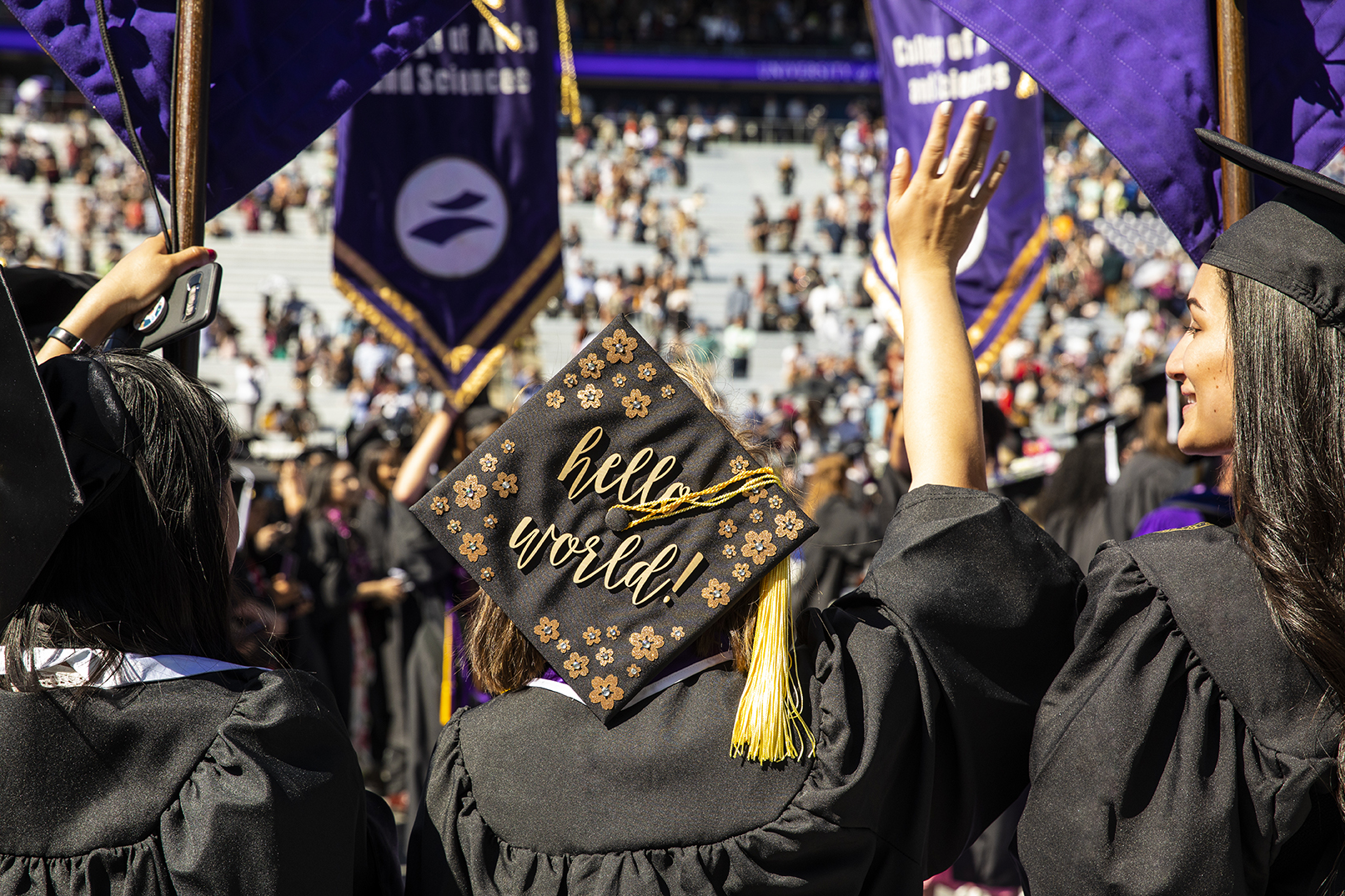 On June 15, 2019, the University of Washington honored more than 6,000 graduates in the 144th Annual Commencement Exercises at Husky Stadium. Nearly 13,795 UW degrees were conferred at the Seattle campus in June.​ (Photo by Mark Stone)