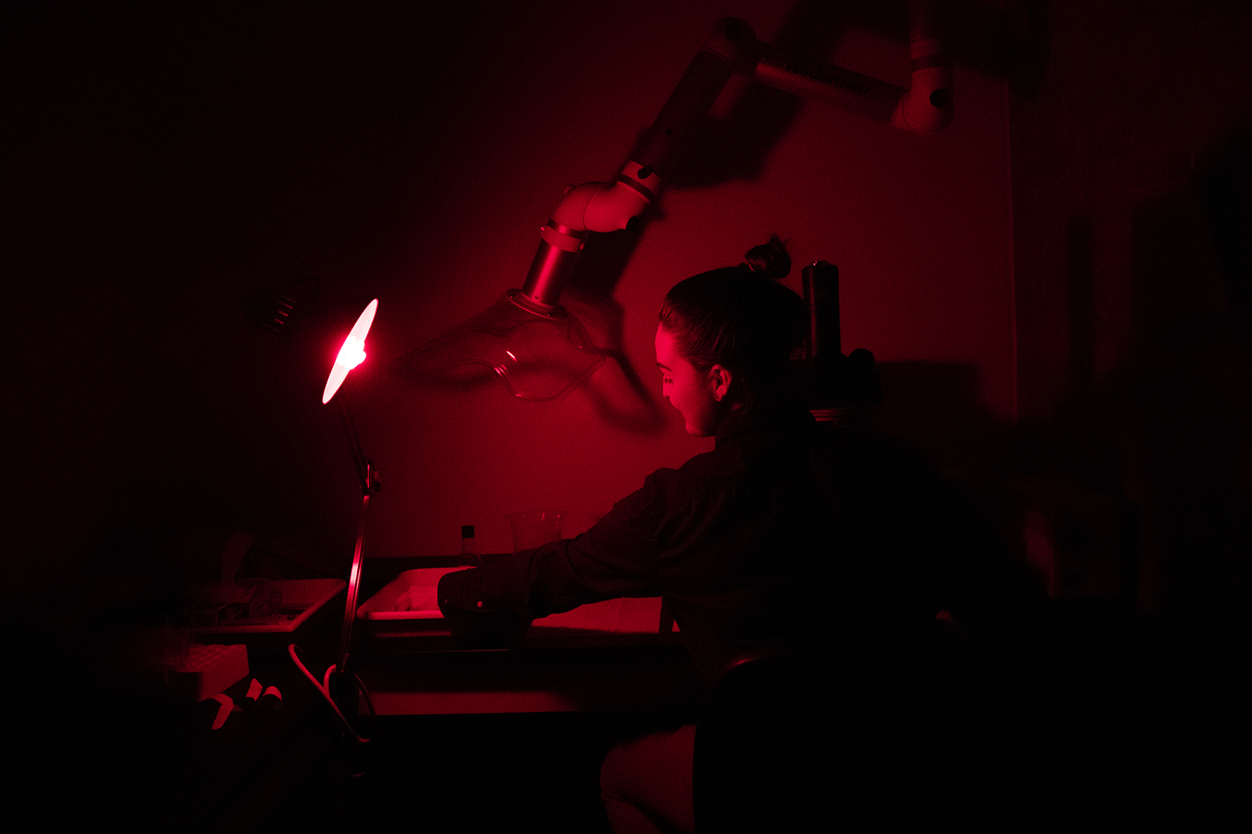 UW Tacoma student Caitlyn McFarland uses an epi-fluorescent research microscope, which makes an organism glow brightly under a mercury-vapor light. (Photo by Ryan Moriarty)