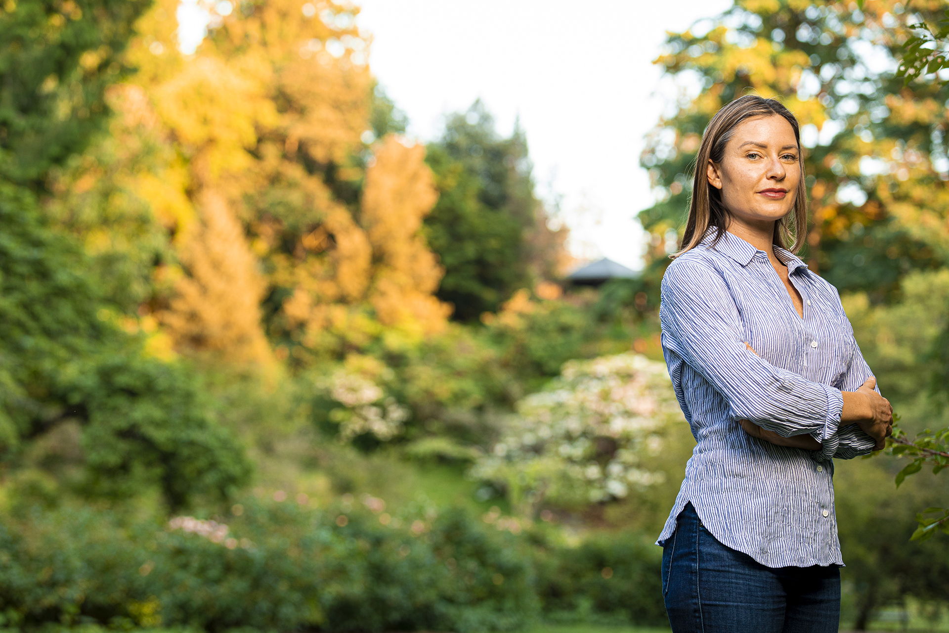 Prof Jennifer Atkinson portrait in the arboretum for upcoming book and podcast