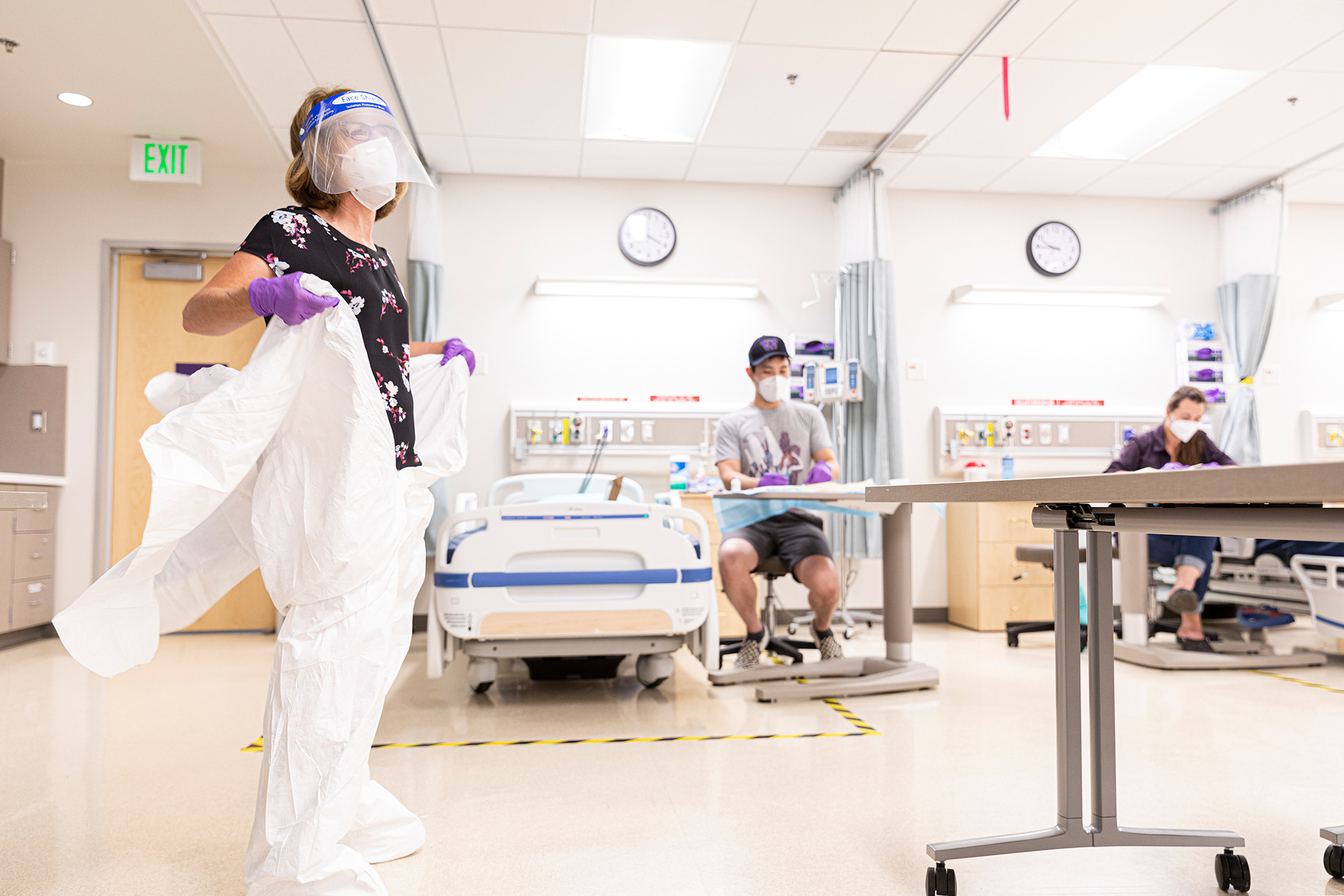 Students practice physical distancing in nursing class during Covid-19 outbreak of 2020
