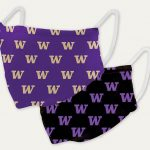 Two masks, purple with a pattern of gold W's and black with a purple W pattern.