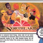 David Horsey illustration of group eating pizza at the Northlake Tavern
