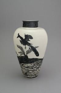 Shio Kusaka, (dinosaur 15), 2014, stoneware, 25 1/4 x 14 3/4 x 14 3/4 inches
