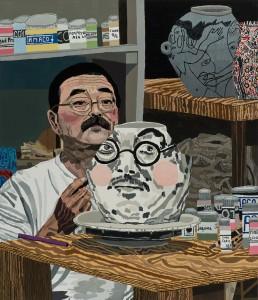 Jonas Wood, Akio Takamori, 2014, oil and acrylic on linen, 42 x 36 inches