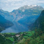 Geirangerfjord, Norway. The small village of Geiranger is located at the end of the fjord where the Geirangelva river empties into it.