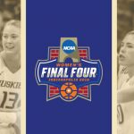 Final Four logo and UW Womens Basketball players