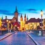 Wurzburg, Germany, lit up at dusk