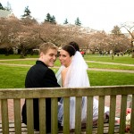Mike Pope and Elisa Pupko on their wedding day (photo taken at the UW Quad)
