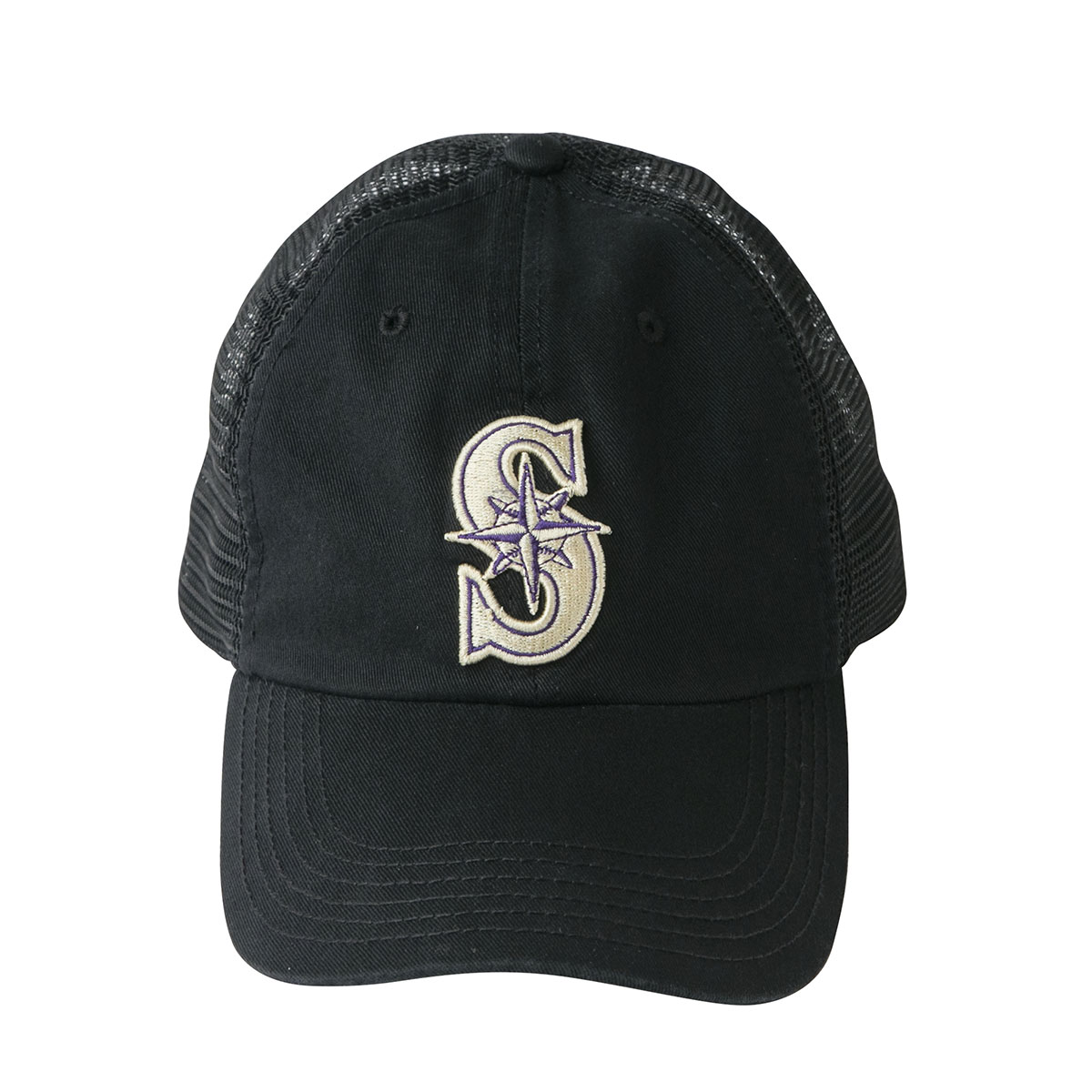 "Black hat with golden ""S"" logo on it"