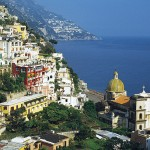 Hillside houses on the coast of Italy