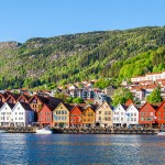 Colorful houses on the coast of Bergen, Norway