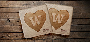 Engraved birch coasters