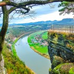 View of the Elbe from Bastei, Germany