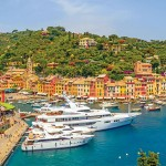 Portofino is clustered around its small harbour, and is known for the colourfully painted buildings that line the shore.