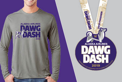 Alaska Airlines Dawg Dash t-shirt and finisher's medal