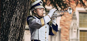 A student plays a trumpet