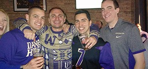 Husky alumni hang out at a viewing party