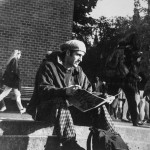 Student sitting on steps from UW 1994 Yearbook