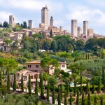 San Gimignano, the Town of Fine Towers, which is completely encircled by medieval walls.
