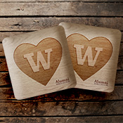 Coasters with hearts Ws
