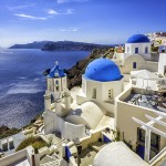 Santorini blue dome churches, Greece
